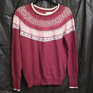 Hollister maroon and white sweater S